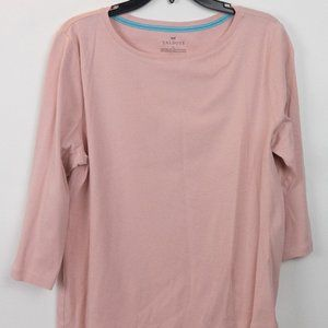 Talbots Casual 3/4 Sleeve Cotton Tee Pink XL